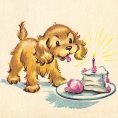 Birthday ilustration dog vintage cards 45 ideas for 2019 Happy Birthday, Dog Birthday, Birthday Quotes, Birthday Wishes, Birthday Cake, Perro Cocker Spaniel, Baby Animals, Cute Animals, Vintage Birthday Parties