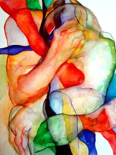 """Sound of Light and Color"" - Vassia Alaykova {contemporary artist figurative male man expressionist watercolor painting} <3 Vibrant !!"