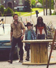 Walking into Woodbury--Rick, Carl, Michonne