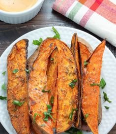 Oven baked extra crispy Sweet Potato Wedges..... Minus the brown sugar