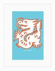 Year of the Dragon Modern Print 18X24 Poster Size by moderngenes, $40.00