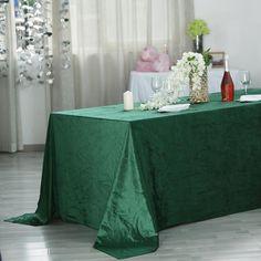 "90"" x 156"" | Hunter Emerald Green | Premium Velvet Rectangle Tablecloth Green Tablecloth, Tablecloth Sizes, Tablecloth Fabric, Chair Covers, Table Covers, Green Wedding Decorations, Christmas Decorations, Green Led Lights"