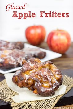 Loaded with fresh apples, these Glazed Apple Fritters are the perfect treat for a cool Fall morning!