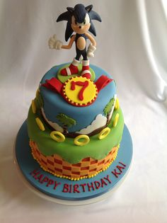 Sonic Cake by Canami Bespoke Cakes & Patisseries Sonic Birthday Cake, Sonic Cake, Sonic Birthday Parties, Sonic Party, Birthday Cakes, Birthday Ideas, Arts And Crafts Projects, Crafts For Kids, Sonic Boom