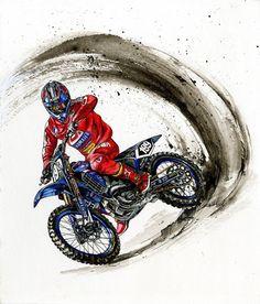 motorcycle art, original watercolor painting, gifts for men, SvetnikArt - Products - Best Motorrad Dirt Bike Tattoo, Motocross Tattoo, Motocross Bikes, Motorcycle Art, Bike Art, Scrambler Motorcycle, Motorcycle Quotes, Japon Illustration, Bike Drawing