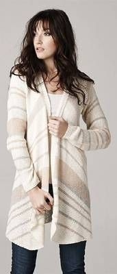Stripe coral grey natural knit cardigan.  Best Seller! www.runwayomaha.com