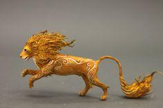 Lion Totem Figurine Fantasy Skulpture Guardian Spirit Amulet Shamanic Native