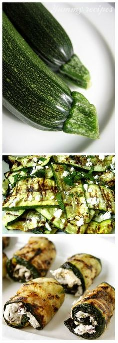 Grilled Zucchini Ribbons with Feta and Mint --- Grilled Zucchini Rolls with Goat Cheese, Basil and Olives