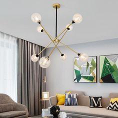 Lustre LED en fer verre à 6/8 lampes pour salon salle à manger, 5 modèles d'abat-jour Chandelier Pendant Lights, Pendant Lamp, Lustre Led, Modern Magic, Ball Lights, Glass Ball, Living Room Bedroom, Lampshades, Light Colors