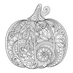 Free coloring page coloring-halloween-pumpkin-zentangle-source-123rf-irinarivoruchko. Zentangle Halloween Pumpkin, by Irina Riboruchko (123rf.com)