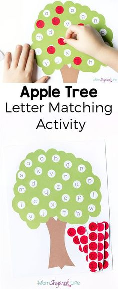 Fine motor craft option This letter matching apple tree alphabet activity is a great way to teach the alphabet this fall! It's perfect for preschoolers and kindergarten students and would be a good addition to your alphabet or literacy center. Teaching The Alphabet, Learning Letters, Fun Learning, Learning Numbers, Learning Spanish, Letter Activities, Toddler Activities, Spelling Activities, Letter Matching
