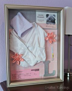 New Baby Shadow Box memory keeper. Beautiful DIY by Creative Ramblings.