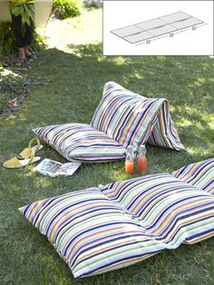 Outdoor Cushions, Turn three bed pillows into one outdoor lounger with waterproof vinyl cases ($5.99 each; shopbedding.com) and four yards of weather-resistant fabric (Sunbrella, $21.95 per yard; amazon.com).