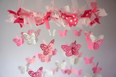 Baby Girl Nursery Decor- Pink Buttefly Mobile, Baby Shower Gift, Photographer Prop. $63.00, via Etsy.
