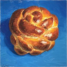 Mini Challah, original artwork by Mike Geno Cute Paintings, Realistic Paintings, Realistic Drawings, My Favorite Food, Favorite Recipes, Art Viewer, Object Drawing, Food Painting, Soft Pretzels