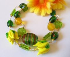 Lampwork and Foil Glass Bracelet Yellow and Green by simplysuzie2, $30.00