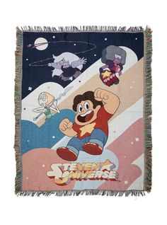 "Woven tapestry throw from <i>Steven Universe</i> featuring a colorful Steven & The Crystal Gems characters design and frayed edges.<br><ul><li style=""LIST-STYLE-POSITION: outside !important; LIST-STYLE-TYPE: disc !important"">48"" x 60""</li><li style=""LIST-STYLE-POSITION: outside !important; LIST-STYLE-TYPE: disc !important"">100% polyester</li><li style=""LIST-STYLE-POSITIO..."