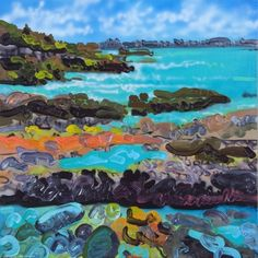 Sea Side by Sheila Kernan Mixed Media in) 2015 at Mayberry Fine Art Winnipeg Sea Side, Canadian Art, Waterfalls, Wilderness, Mixed Media, Fine Art, Landscape, Artwork, Painting
