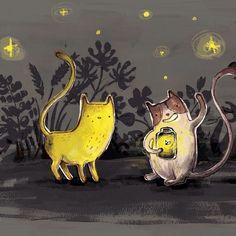 Cats and fireflies ✨ #illustration #firefly #cat #kassreich