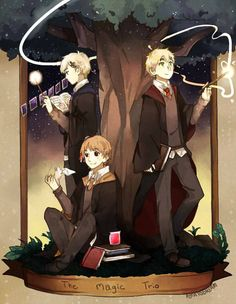APH Magic Trio - Harry Potter Crossover by PotatoDream.deviantart.com on @DeviantArt