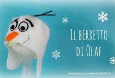 Come fare un berretto di pile con Olaf di Frozen Pile, Olaf Frozen, Snowman, Disney, Masks, Snowmen, Disney Art, Face Masks