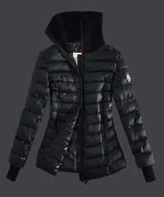 Cheap 2015 New Moncler Down Jackets Womens Stand Collar Zip Black Outlet Online Sale With Free Shopping