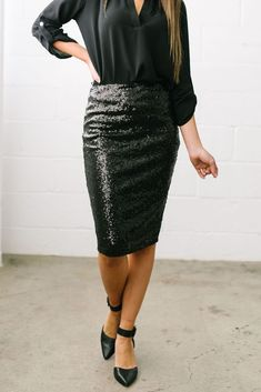 442a99790a Born To Shine Sequined Pencil Skirt In Black $38 Sequin Pencil Skirt, Pencil  Skirt Black