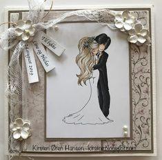 Kirstens Hobbyblogg: Bryllupskort Copic Markers, Wedding Cards, Scrap, Frame, Tat, A Frame, Frames, Hoop, Picture Frames