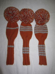 golf club cover set | Golf Club Head Covers Hand Knit Set of 3 in Orange and Gray Headcovers