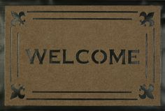 Welcome Fleur Tan Carved Mat (1'8 x 2'8) from Michael Anthony Furniture - only $33 and always free shipping! Indoor Rugs, Welcome, Carving, Free Shipping, Grey, Blue, Furniture, Products, Gray