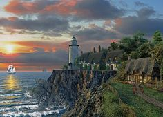 Spivy Point. 1000 pcs. A timeless image of sunset at Spivy point. A lighthouses and spring cottage make this an afternoon to remember.