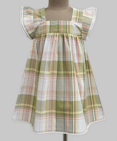 Look what I found on #zulily! Olive Plaid Angel-Sleeve Dress - Infant, Toddler & Girls #zulilyfinds