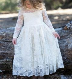 White Long Sleeve Ankle Length Lace Flower Girl Dress Perfect for weddings,communion, christening, easter, photo shoot and other special events This stretch lace dress is lined with sweetheart necklin