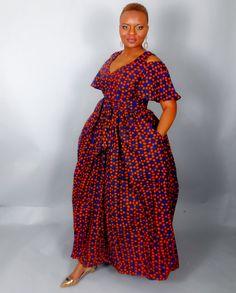 NOUVEAU dans: africain épaule froide impression maxi robe