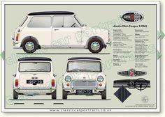Austin Mini-Cooper MkII 1967-70 classic car portrait print