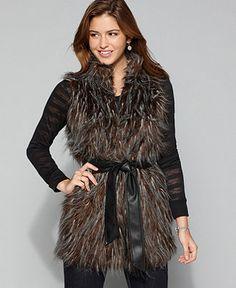 Me Jane Juniors Vest, Sleeveless V Neck Faux Fur Vest with Faux Leather Belt - Juniors Jackets & Blazers - Macy's $49.99
