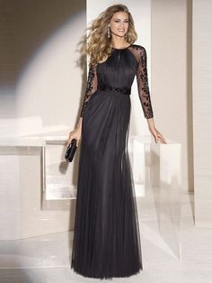 Fashion A-Line/Princess Scoop Long Sleeves Tulle Sweep/Brush Train Applique Black Evening Dress