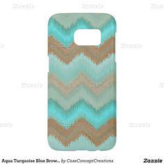 Aqua Turquoise Blue Brown Ikat Zigzag Pattern Samsung Galaxy S7 Case