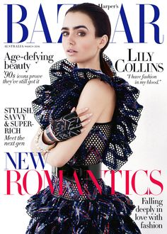 Lily Collins | 2016 | Harper's Bazaar Australia Cover by Dave Roemer