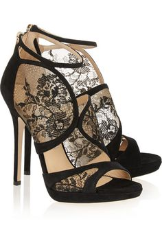 Heel measures approximately 120mm/ 5 inches Black lace and suede Zip fastening along back