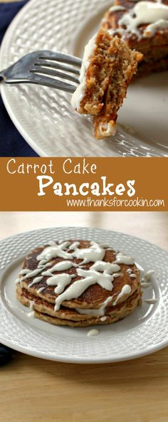 Carrot Cake Pancakes Carrot Cake Pancakes, Pancakes And Waffles, What's For Breakfast, Vegetarian Breakfast, Brunch Recipes, Breakfast Recipes, Griddle Cakes, Crepe Cake, Coffee Cake