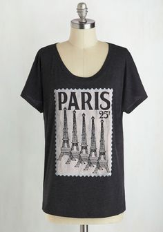 Postcard from Paris Tee. Whenever you miss friends who've gone on a trip to France, you soon end up smiling when you receive a postal hello from a pal in Paris. #black #modcloth