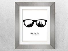 New York City poster, New York skyline, Printable Art, Minimalist poster, Black and white, Glasses print,