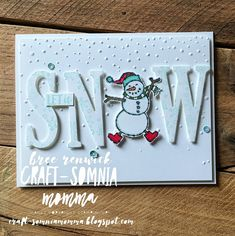 Craft-somnia Momma: Let It Snow, Snowman! Stampin Up Christmas, Christmas Cards To Make, Christmas Snowman, Xmas Cards, Holiday Cards, Christmas Crafts, Snowman Wreath, Christmas Trees, Mini Albums