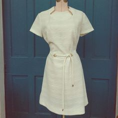 Vintage White Mod Dress Mod Dress, made to be easy care. All white with gold rings that secure the belt. Super Go Go! It's a vintage size 18! Vintage Dresses Mini