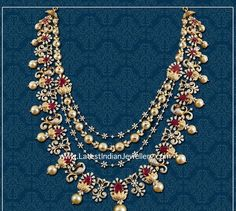 The layered diamond necklace with peacocks, diamond flowers, pearls and rubies forms a graceful bridal jewellery piece from Abaran's Vadhu bridal collection. Gold Earrings Designs, Gold Jewellery Design, Diamond Jewellery, Diamond Jhumkas, Pearl Necklace Designs, Saree Jewellery, Gold Designs, Beaded Jewelry Designs, Pearl And Diamond Necklace