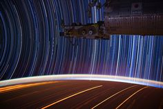 Expedition 31 star trail composite, from a series of long exposure photographs taken by astronaut Don Pettit aboard the International Space Station