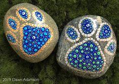 Hand Painted Paw Print Rock, painted rock, painted stone, painted beach pebble, mandala, dot art, meditation, rock art, stone art, evil eye, rock, stone, pebble, rock painting, stone painting #art #paintedrocks #rockart #stonepainting #rockpainting #mandalastones #handpaintedrocks #dotart