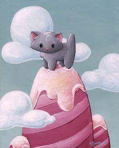 """Big Rock Kitty Meowtain,"" acrylic on board, 8""x10"", painting, cat, moutain"