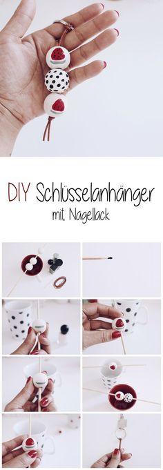 DIY Schlüsselanhänger mit Nagellack selber machen. Wassermelone und Pünktchen.